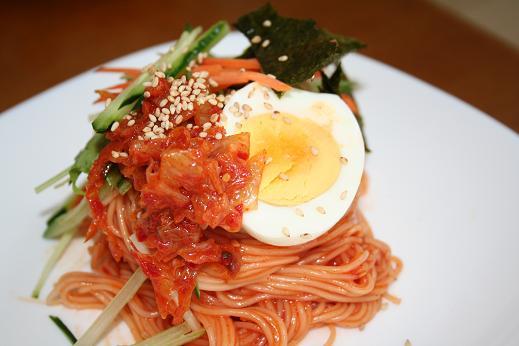 韓国家庭料理 辛い~野菜たっぷりキムチビビンそうめん